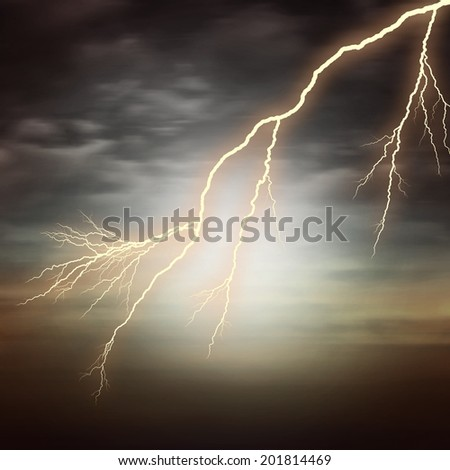 lightning silhouette  with sunset sky and clouds background