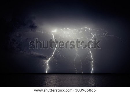 Lightning storm - stock photo