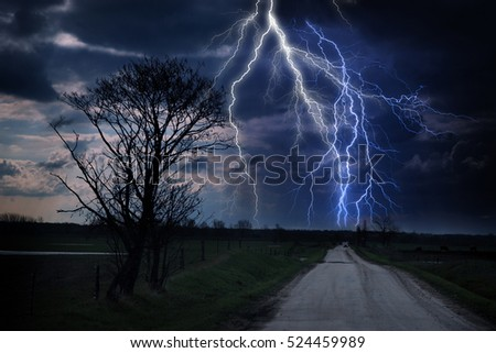 Lightning storm and highway