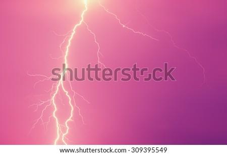 Lightning storm at night - stock photo