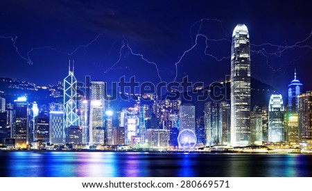 Lightning storm in the Hong Kong island night sky. - stock photo