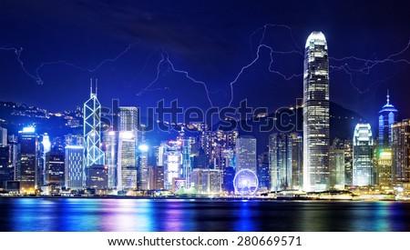 Lightning storm in the Hong Kong island night sky. - stock photo