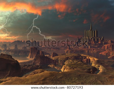 Lightning Storm over Ancient Alien City Landscape - stock photo