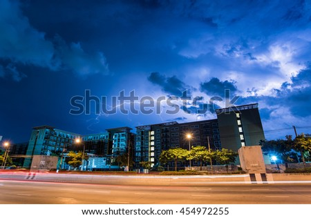 Lightning storm over building in the city