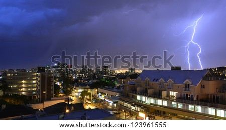 Lightning Storm over Cape Town City center