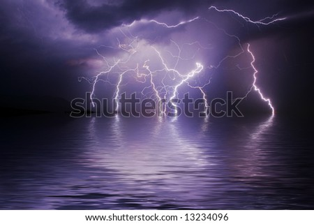 Lightning storm over ocean - stock photo
