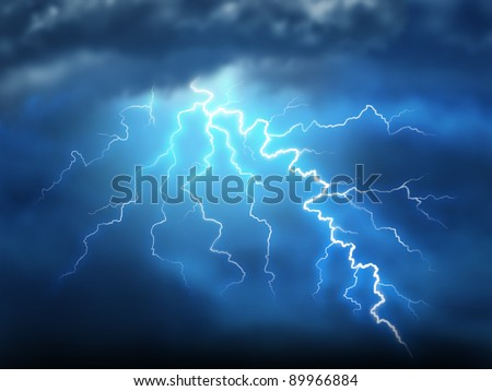 Lightning storm thunderstorm with a bolt of light electricity from a dark cloudy blue night sky as power of natural destruction and dramatic weather storm resulting in disaster and electrical shock. - stock photo