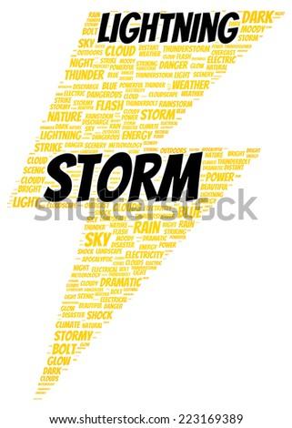 Lightning storm word cloud shape concept - stock photo
