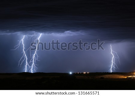 Lightning Storm Yanchep Perth Western Australia - stock photo