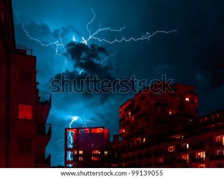Lightning strike at residential district - stock photo