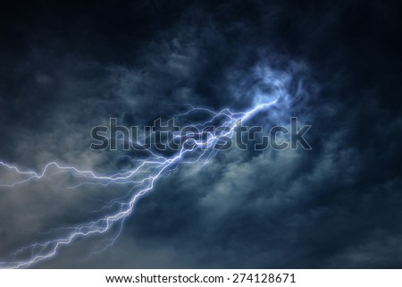 lightning strike during an electrical storm - stock photo