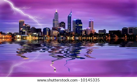 lightning strike in business district - stock photo