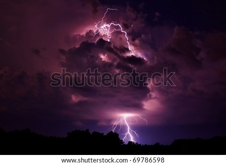 Lightning strike in Missouri. - stock photo