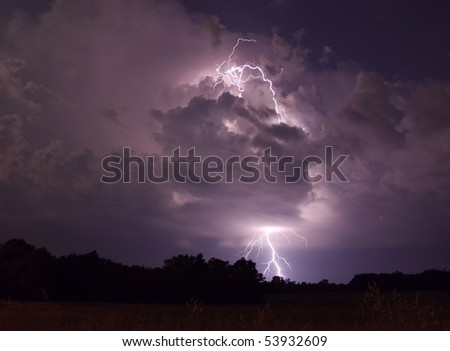 Lightning strike in Wright City Missouri - stock photo