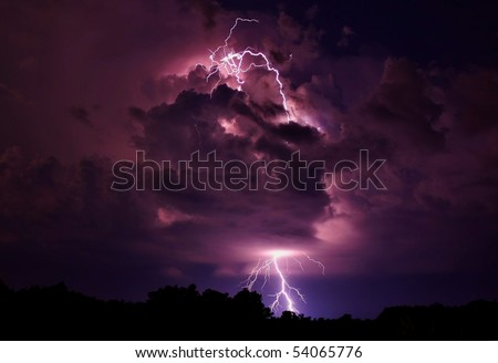 Lightning strike in Wright City, Missouri. - stock photo