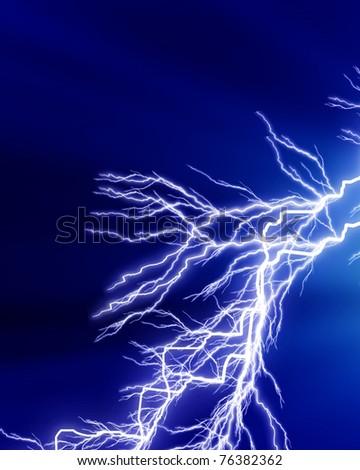 Lightning strike on a dark blue background - stock photo