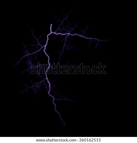 Lightning strike on black background.