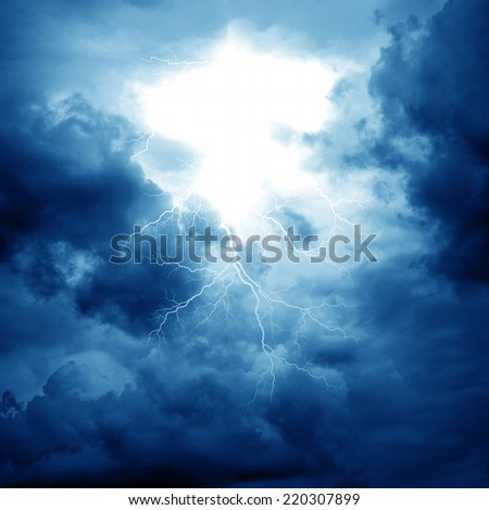 Lightning strike on the cloudy sky - stock photo