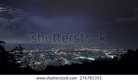 Lightning Strike Over Chiang mai City - stock photo