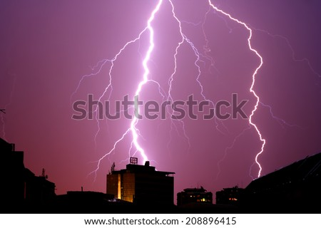 Lightning strikes - stock photo