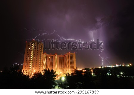 lightning strikes in the town