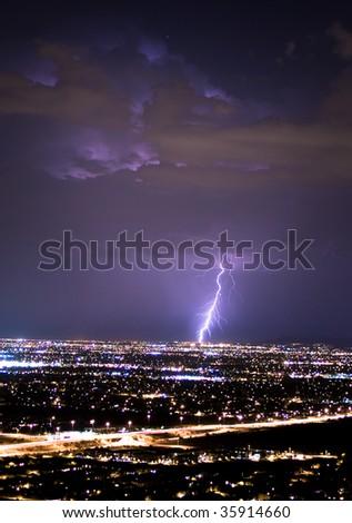 Lightning Strikes The City - stock photo