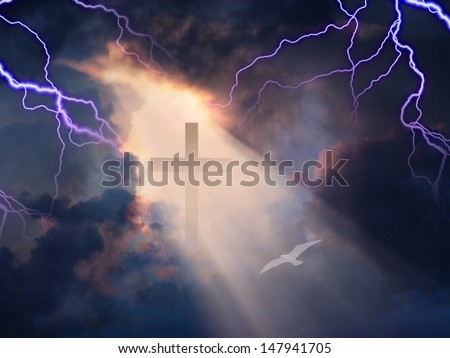 Lightning Strikes while cross is revealed in sunlight streaming - stock photo