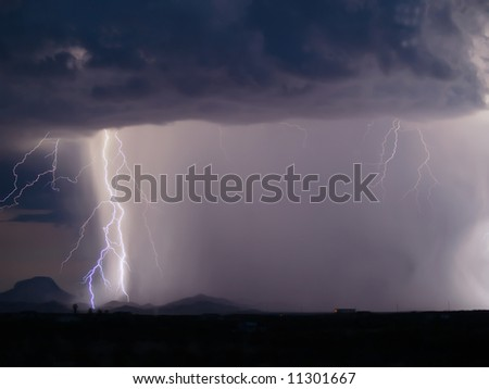 Lightning striking the ground during a nighttime storm - stock photo