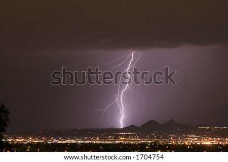 Lightning Thunderstorm, City Lights and Mountains