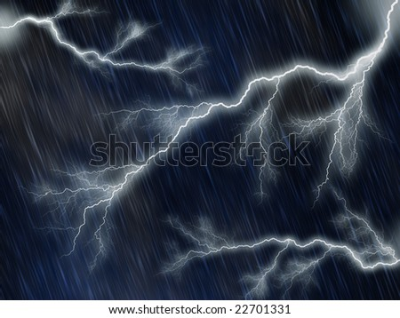 Lightnings against night sky with puring rain - stock photo