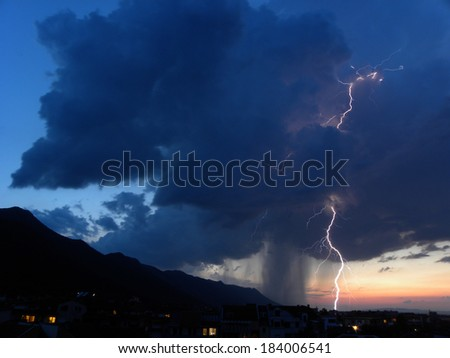 Lightnings and thunders in town of Vratsa, Bulgaria