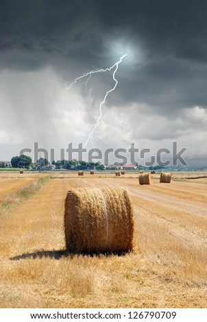 lightnings in the sky in august - stock photo