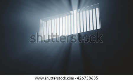 Lightrays Shine through Rails in Demolished Solitary Confinement Prison Cell 3D Illustration - stock photo