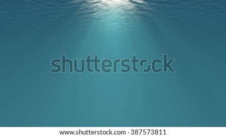Lightrays Shining through Deep Ocean Water Surface Backdrop for Aquatic Scenes Illustration - stock photo