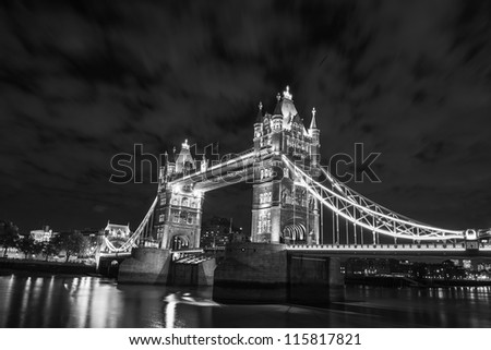 Lights and Colors of Tower Bridge at Night - London - UK - stock photo