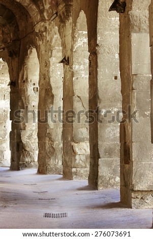 Lights and shades on a old Passage  Ground - stock photo