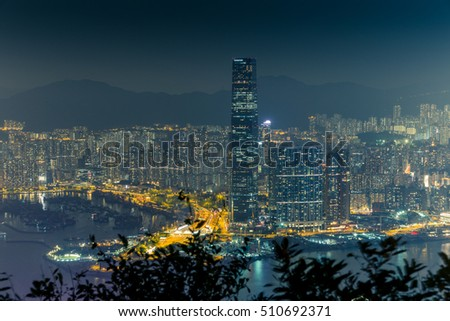 Lights and skyline of Central Hong Kong at night - 5