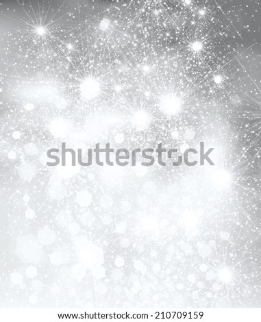 Lights and stars on silver background.