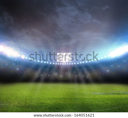 lights at night and stadium - stock photo