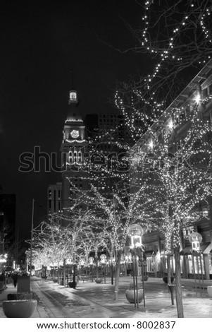 lights at night on 16th street mall, denver colorado - stock photo