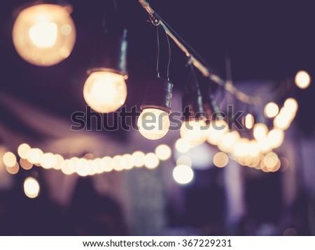 Lights decoration Event Festival outdoor Vintage tone - stock photo