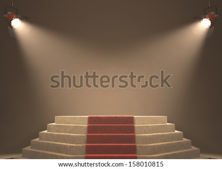Lights illuminating the podium. Your text in light. - stock photo