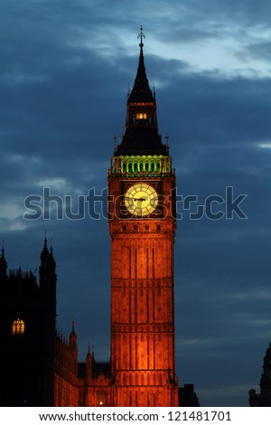 Lights of Big Ben at Dusk - London - UK - stock photo