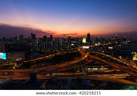 Lights of cars on the road. And views of city lights at night. - stock photo