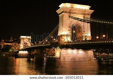 Lights of Chain bridge at night, Budapest, Hungary - stock photo