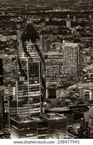 Lights of London financial skyline. Aerial view. - stock photo
