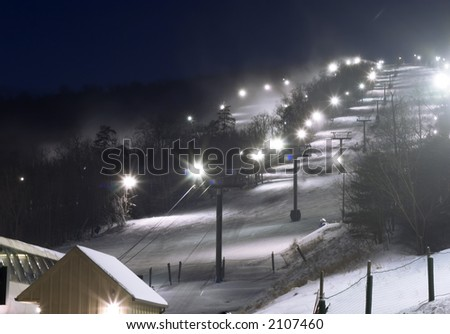 lights of ski resort in the evening - stock photo