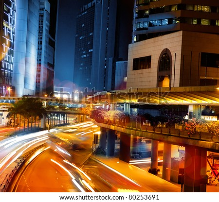 Lights of traffic on streets - stock photo