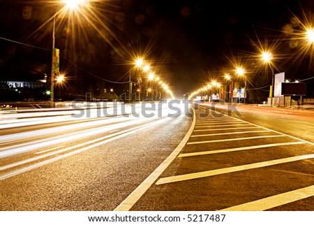 Lights on Highway, urban scene - stock photo