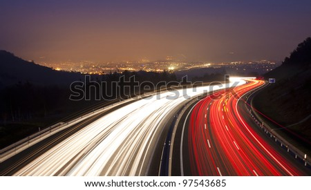 Lights on the highway Heading for city Donostia - stock photo